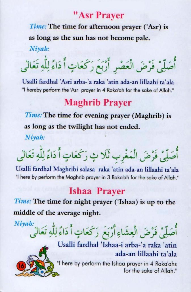 Namaz nea Asar, Magrab, Ishaa
